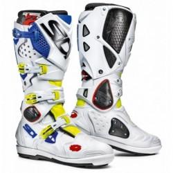 Bottes moto SIDI CROSSFIRE 2 SRS blanc bleu jaune
